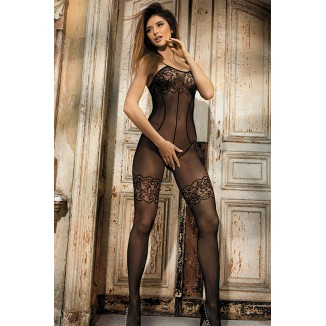 catsuit nero bodystocking a rete sexy lingerie donna hot