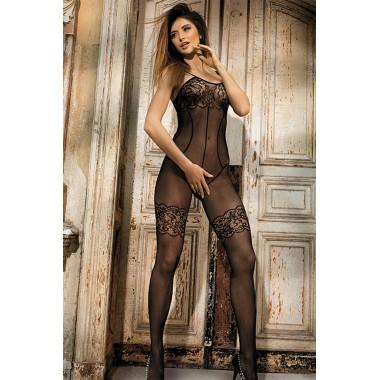 catsuit nero bodystocking a rete sexy lingerie donna hot
