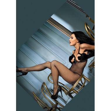 catsuit bodystocking donna nero intimo notte sexy lingerie a rete