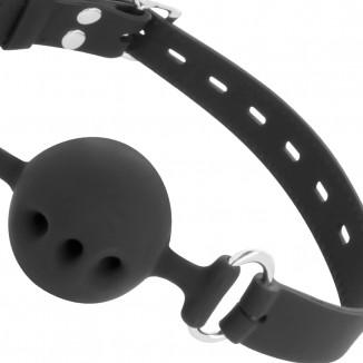 Palla Ball Gag morso a sfera per bocca in silicone nero