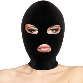 Maschera Sadomaso in spandex con 3 aperture