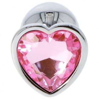 plug dildo anale con diamante a forma di cuore incastonato
