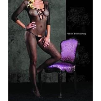 bodystocking nero aperto calza corpo a rete intimo sexy donna