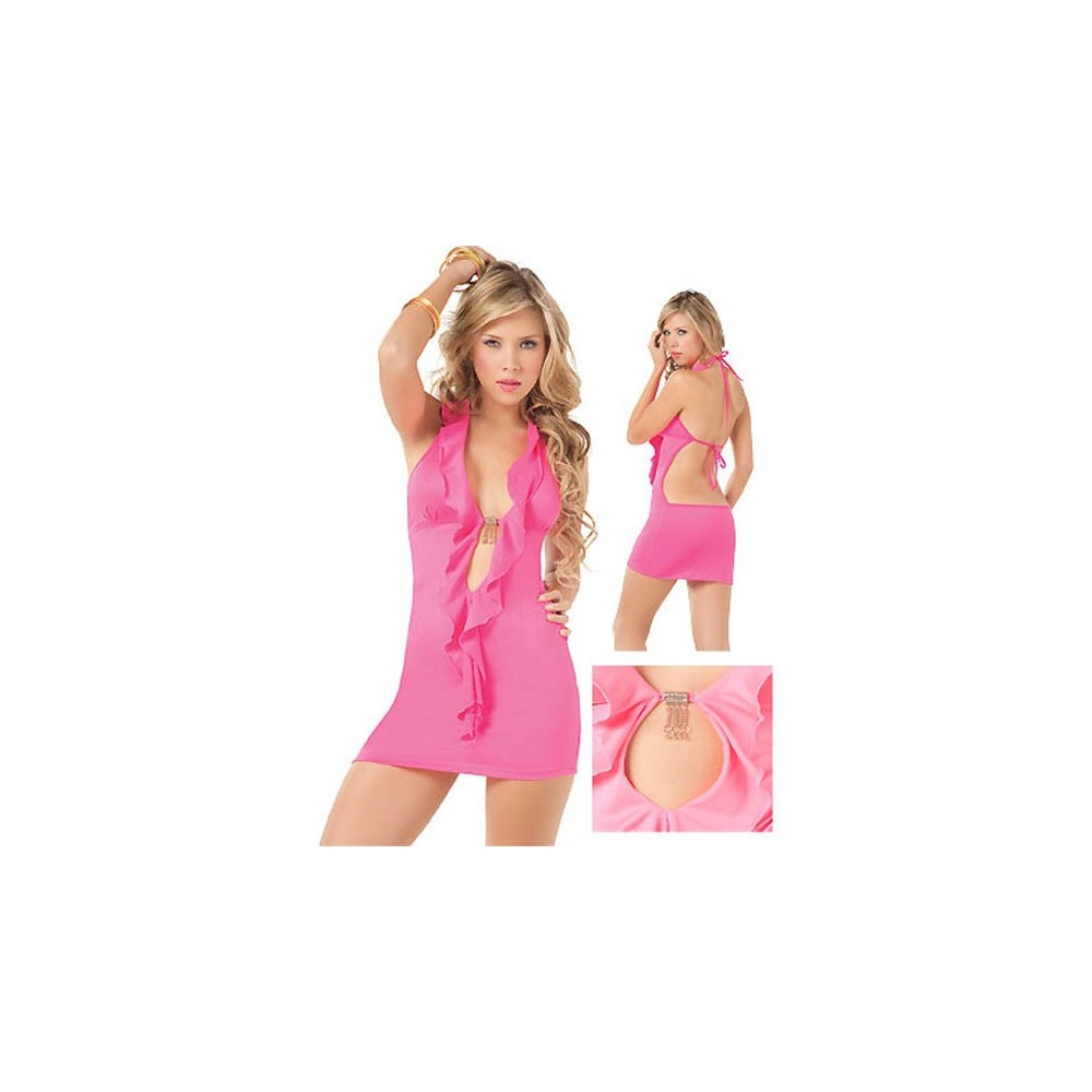 babydoll chemise mini abito rosa aderente sexy lingerie