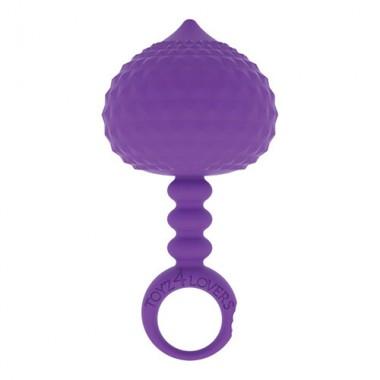 dilatatore anale viola in silicone con impugnatura ad anello