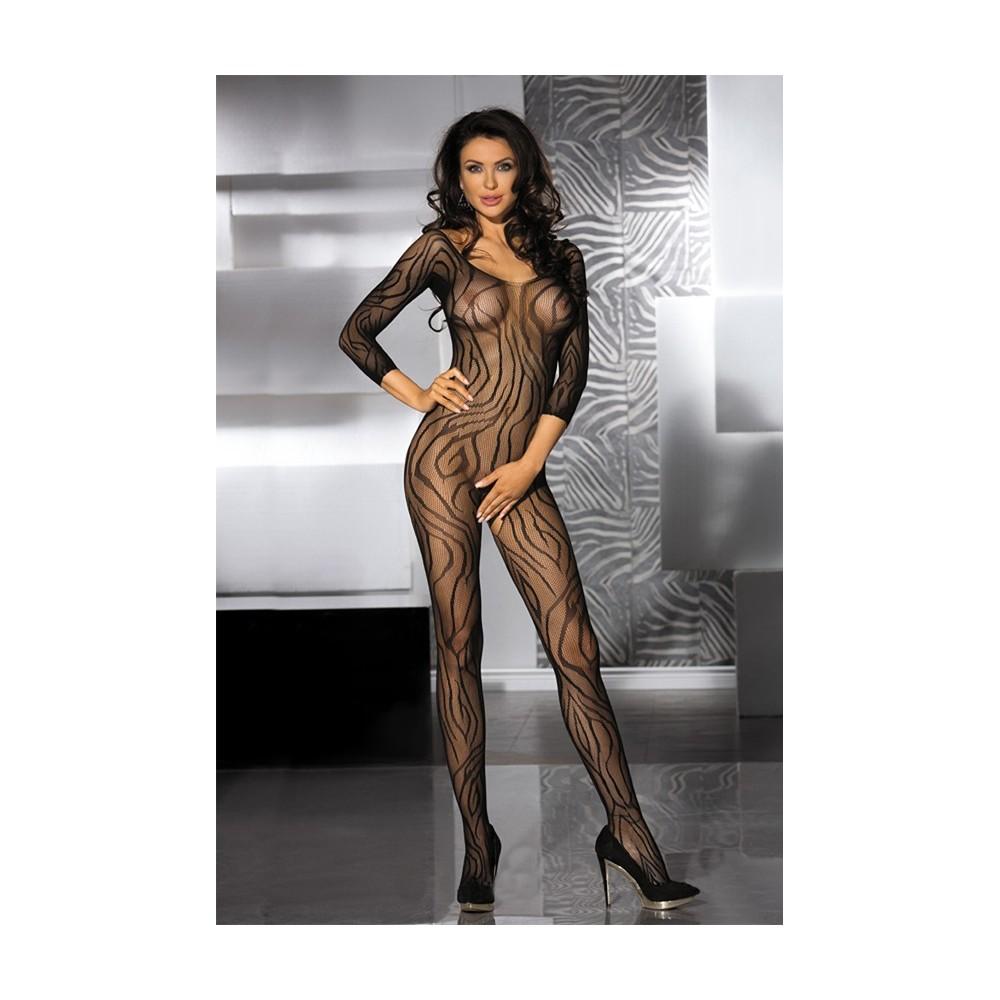 tutina a rete sexy lingerie donna bodystocking velato nero